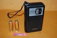 東芝・RP-80型 IC(集積回路)AM ポケットラジオ受信機・ブラックカラー1979年製品